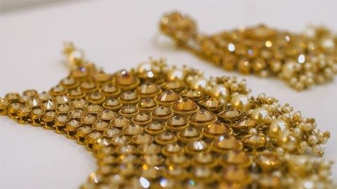 Closeup shot of beautiful traditional bridal jewelry set