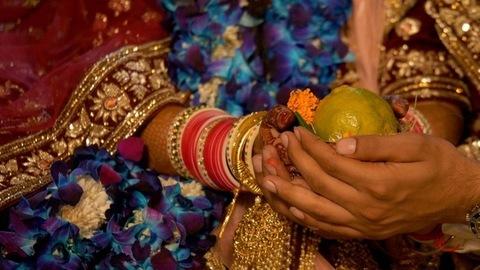 Shot of auspicious ceremony of Indian wedding