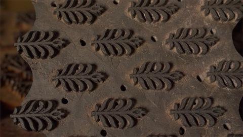 Block Printing - Pan shot of woodblock stamps for fabric printing