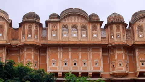 Pan shot of the beautiful city palace situated in pink city Jaipur - tourism concept