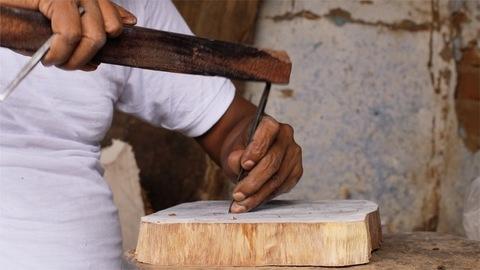 Block Printing - A craftsman carving design to make a wooden stamp