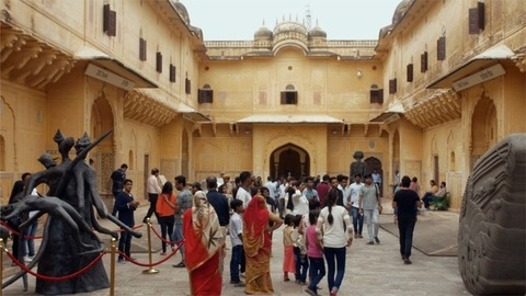The crowd of Indian visitors exploring the Jaipur's historical Nahargarh fort