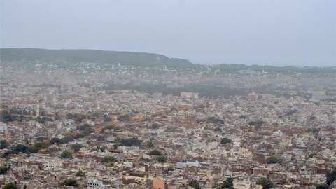 Aerial view - Indian metropolitan city Jaipur situated in the state of Rajasthan