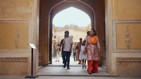 Indian tourists exploring the Nahargarh Fort in the pink city of Jaipur, Rajasthan