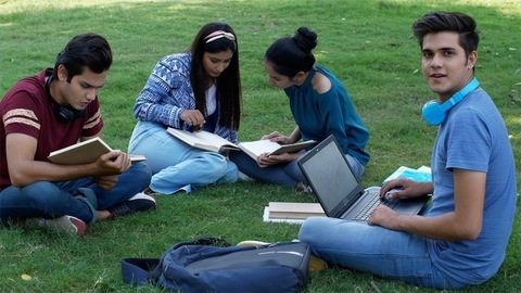 Group of four young students studying together in the open-air - college scene