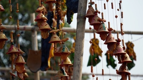 Colorful handmade traditional mud chimes for home decoration in Delhi/NCR, India