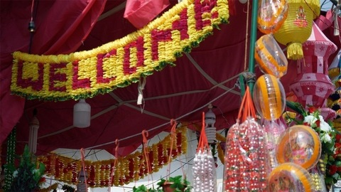 Tilt shot of beautifully decorated Diwali street market in Delhi/NCR, India
