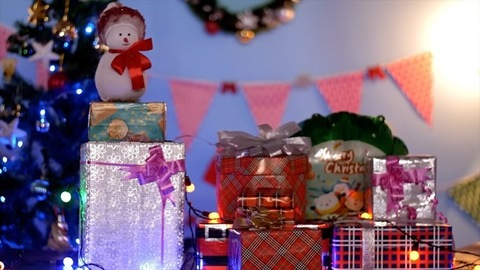 Still shot of a decorated platform with colorful Christmas items - festive scene India