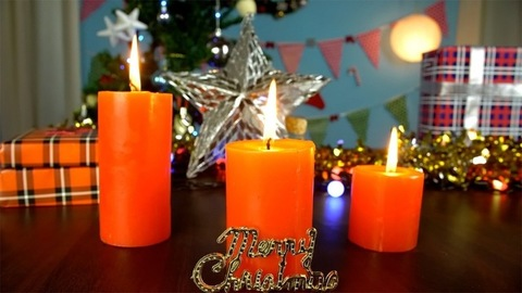 Moving shot of a beautifully decorated table at home for Christmas celebrations