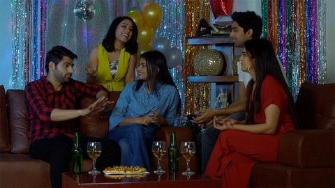 A group of attractive Indian friends spending time together on Christmas/New Year in India