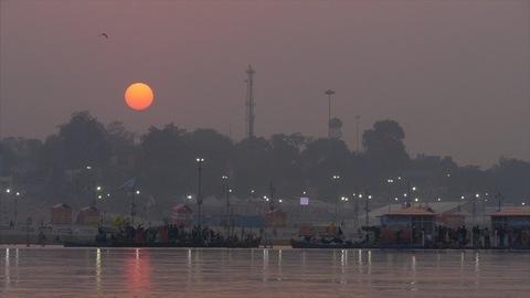 Sunset view at the holy Kumbh Mela - Hindu pilgrimage