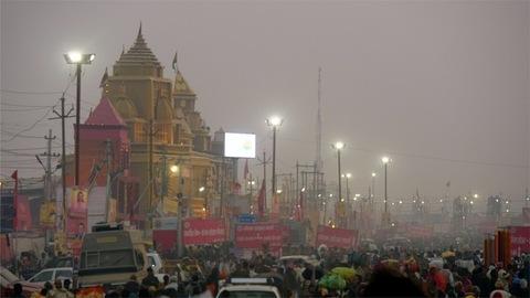 Night view of an Indian temple at the Kumbh Mela 2019 - Prayagraj, India