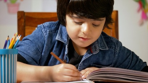 Cute boy choosing the right color pencil to complete his shading - child education concept