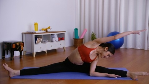 Beautiful young girl doing yoga postures on a fitness mat at home - sportswear
