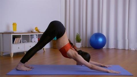 Flexible Indian girl practicing Adho Mukha Svanasana and Balasana on a yoga mat