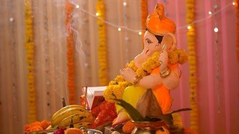 Side close-up of Lord Ganesha's statue kept at home - Ganesh Chaturthi