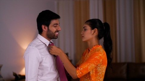 An Indian wife helps her husband settle his tie before going to work -  Family, love, elegance