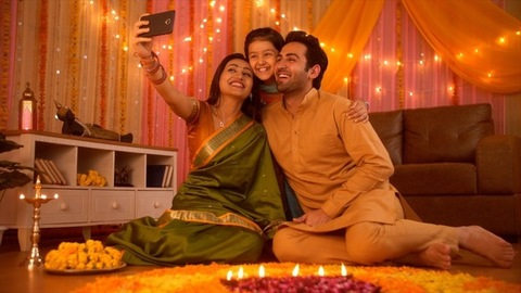 Nuclear Indian family Celebrating Diwali festival and taking a selfie from new smartphone