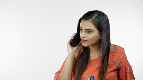 Young beautiful lady reacting differently while talking on a phone call - modern lifestyle