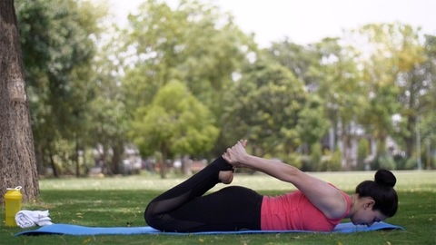 Beautiful young woman doing yoga postures on a fitness mat in a garden - sportswear