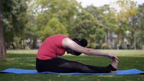 Healthy woman doing yoga Paschimottanasana (sitting forward bend pose) early morning before her office