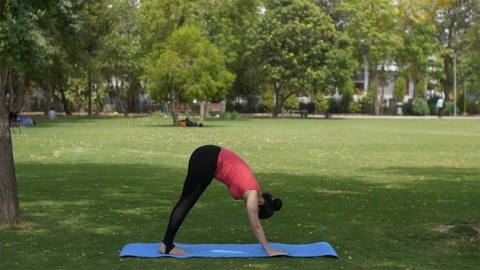 Young attractive woman practicing yoga asanas early morning before working time