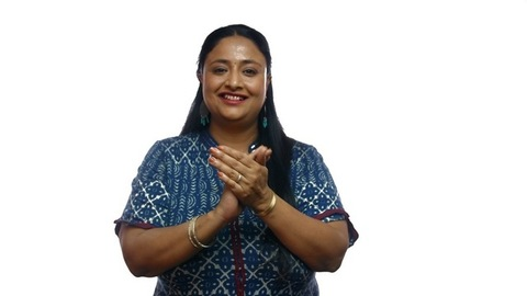 Overweight Indian woman laughing and clapping hands - isolated over white background