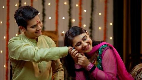 Indian sister tying rakhi on her brother's wrist and expressing the love - Raksha Bandhan
