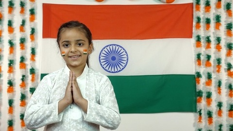 Little Indian girl celebrate the Auspicious Day - Independence Day Or Republic Day