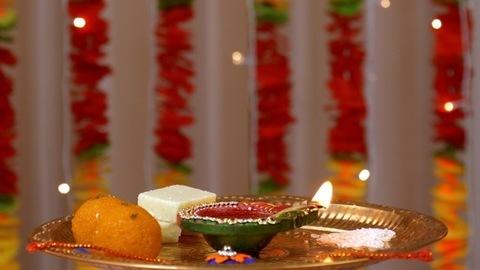 Closeup of a rotating puja thali on the occasion of Raksha Bandhan - Indian festival