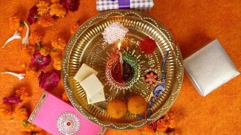 Closeup of a beautifully decorated Raksha Bandhan thali - North Indian festival