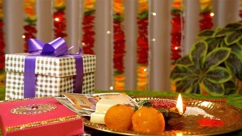 A tilt shot of a decorated puja thali for the Raksha Bandhan celebrations