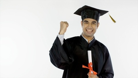 Attractive Indian graduate rejoicing on the day of convocation ceremony in India