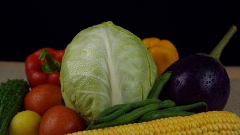 Closeup shot of organic vegetables for a healthy lifestyle against the black background