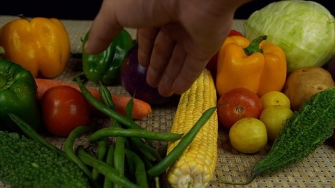 Hands of a young farmer putting fresh vegetables on a kitchen mat - vegetarian food