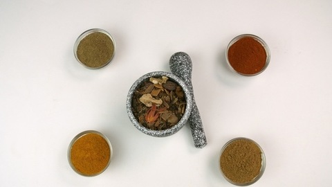 Spices of India - A timelapse shot of different Indian spices isolated over white background