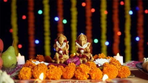 Bokeh Effect - Decorated temple of Lord Ganesha and Goddess Laxmi on Diwali - the festival of lights