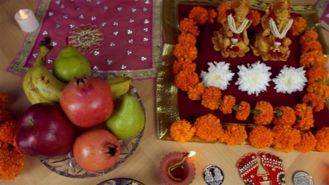 Top view of a decorated temple of Ganesh and Laxmi for Diwali Pujan  - the festival of India