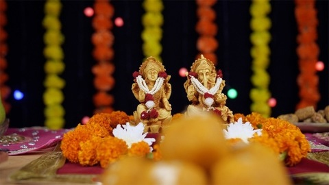 Temple of Lord Ganesha and Goddess Laxmi on the occasion of Diwali - the festival of India