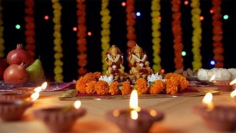 Beautiful oil lamps with Lord Ganesha and Goddess Lakshmi for Diwali Pujan