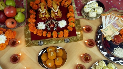 Top view of a decorated temple of Ganesh Ji and Laxmi Ji on the Indian festival Diwali