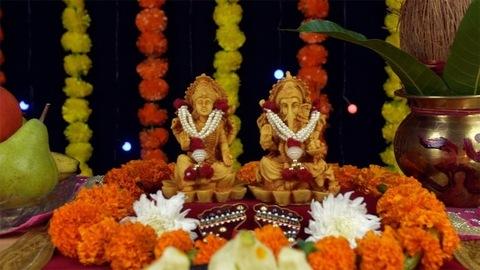 Moving shot of Goddess Laxmi and Ganesh on the festival of lights Diwali/ Deepavali
