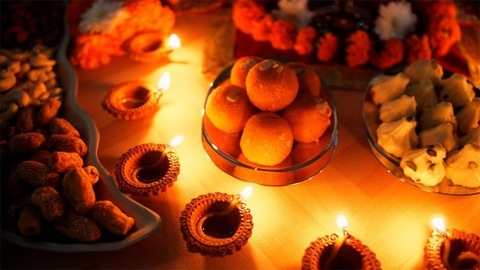 A beautifully decorated platform for Diwali puja on the occasion of Diwali - the festival of India