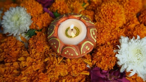 Rotating shot of a colorful oil lamp on the occasion of Diwali - the festival of India