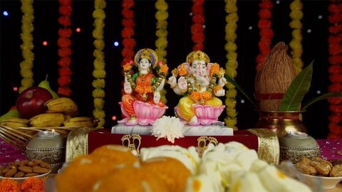 Indian temple decorated for the religious festival of Hindus - Diwali/Dipavali